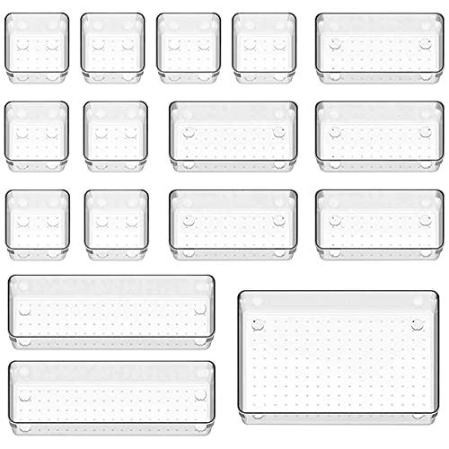ZGoEC Organizer Schublade Durchsichtig 16 Stücke, Kühlschrank Schubladen Ordnungssystem, Anti rutsch Organizer, Schubladeneinsatz Aufbewahrungsbox für Schminktisch Bad Küche