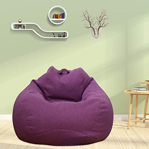 Funda de puf sin relleno XL (100 x 120) para adultos y niños, puf gigante de tela, puf de salón, para sofá grande, para interior y exterior (morado)