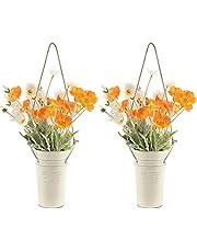Luxspire Väggplanterare, 2-pack hängande väggvas med hamparep hängande ampel i lantlig stil blomhållare hängande kruka blomkruka växtkärl för inomhus utomhus balkong väggdekoration – vit