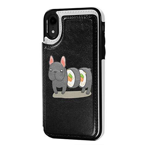 Frenchie Sushi Roll iPhone XR Wallet Case Credit Card Holder PU Leather Magnetic Closure Cover Case 6.1 Inch