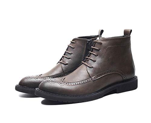 ZJEXJJ Mens Memory Foam Casual Stiefeletten Schuhe Smart Martin Schuhe Vintage Wanderschuhe (Farbe : Braun, größe : 42 EU)