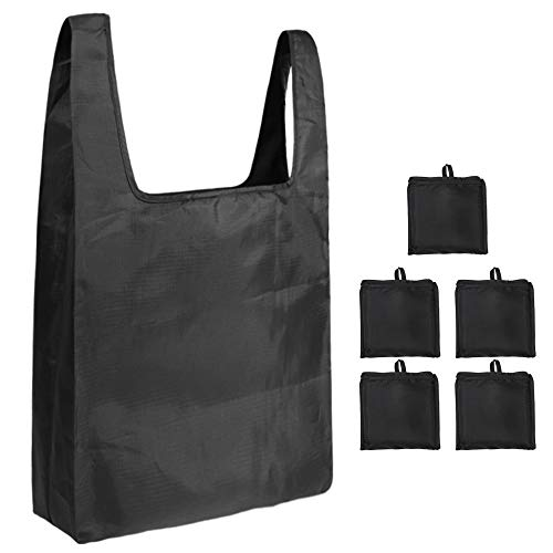 SILD Herbruikbare boodschappentas Opvouwbare boodschappentassen, milieuvriendelijke boodschappentassen Grote boodschappentas Shopper Tassen (5 Pack) Zwart