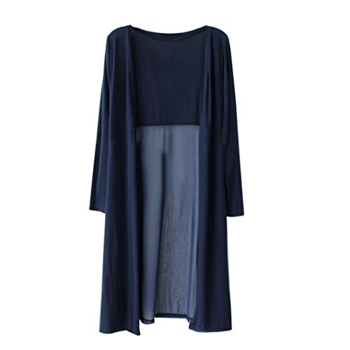 DEELIN Mujeres De Moda Boho Beach Gasa Larga Cardigan Kimono Chaqueta Kaftan Vestido Largo (One-Size, Armada)