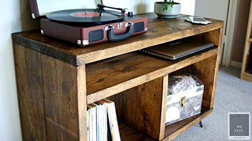 Soporte para tocadiscos, almacenamiento de discos de vinilo, mueble de andamio, mueble de TV rústico, mueble de TV retro