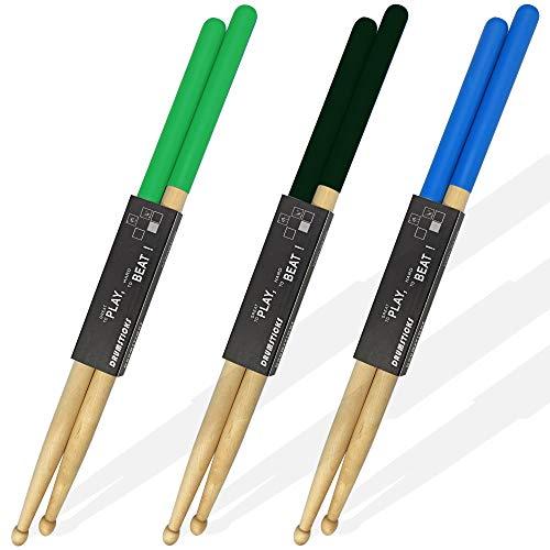 Lot de 3 paires de baguettes de batterie, poignées antidérapantes, baguettes classiques en bois d'érable 5A pour adultes, étudiants et débutants (3 couleurs)