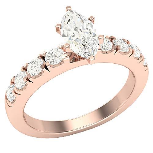 Glitz Design Mujer Niños Hombre Unisex oro 14 quilates (585) oro blanco 14 quilates (585) marquesa round-brilliant-shape Diamond