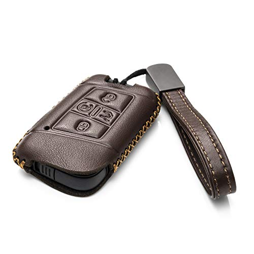 Vitodeco Genuine Leather Smart Key Fob Case Cover Protector with Leather Key Chain for 2018-2019 Volkswagen Atlas, Jetta, Passat, Arteon, Tiguan (5-Button, Brown)