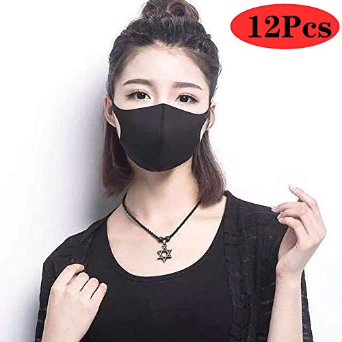 RHSMY 12 Pcs, Hohe Elastizität Sanft Mode Atmungsaktiv Staubdicht Masken, Waschbar, Verhindert Uv-Strahlen