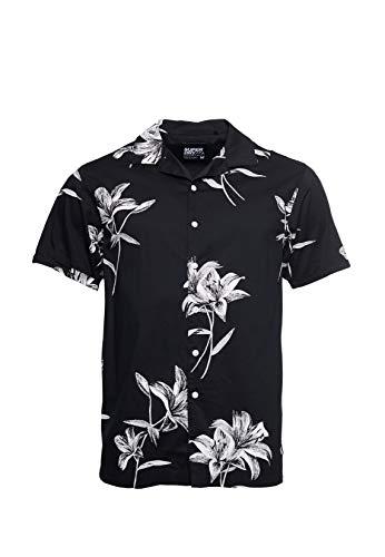 Superdry Hombre Camisa Hawaiian de Corte Cuadrado y Manga Co
