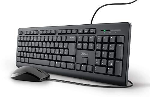 Trust Taro Set Tastiera e Mouse Cablati USB, Layout Italiano QWERTY, per PC/Laptop/Notebook Mac/Windows, Cavo di 1.8 Metri, Tastiera Resistente ai Liquidi, Ergonomico, Nero