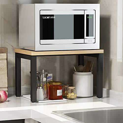 Einfach Küche Mikrowellen Regal Für Arbeitsplatte, Stahl Lager Holz Regale Nützlichkeit Steht Organisieren Multifunktions Bäcker Regal Spice Zähler Kabinett Metall Rahmen-c-gelb 2-böden