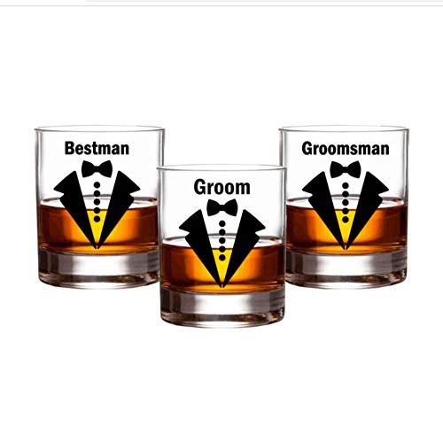 15 Stks/Set Groom Bruiloft Party Stickers Boog Tie Groomsman Decals Bier Whiskey Wijnglas Bachelor Sticker Beste Man Grooms Gift 5.5X7Cm
