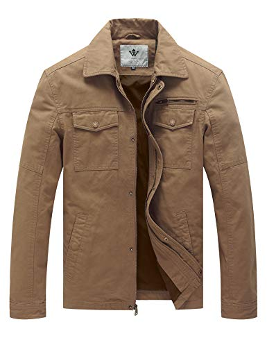 WenVen Men's Spring Cotton Vintage Trucker Tops Jacket (Khaki,L)