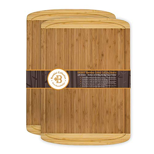Bambusi Large Cutting Boards with Juice Groove  Set of 2 Bamboo Carving Boards for Chopping Meat Cheese Vegetables  EcoFriendly Kitchen Butcher Block