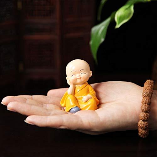 Estatua de estatuilla de 4 monjes, pequeños monjes lindos no escuchan el mal, no ven el mal, no hablan del mal, no hacen el mal, estatua, riqueza, felicidad, estatuilla, hogar decoración de buda