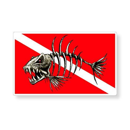 Bone Fish Dive Sticker Diver Down Fishing Vinyl Graphic Digital Car Truck Boat Kayak Yak Sail