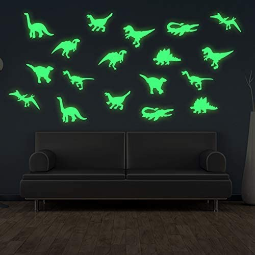 45 pcs Dinosaurs Luminous Wall Stickers 3D Glow in Dark Dinosaurs Wall Decorative for Baby Children product image