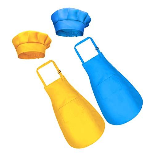 LUOEM 2 Set Kinderschürzen Kochmützen Verstellbare Kinderschürzen mit Taschenküche Lätzchen Schürzen für Die Küche Kochen Backkunst Malerei Größe S Gelb Blau