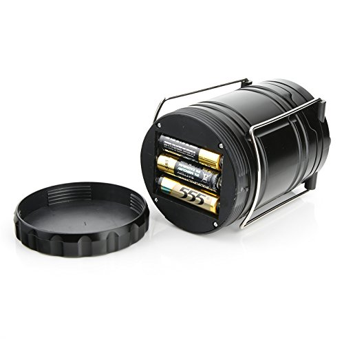 GEMEK 2 Pack LED Camping Lantern, Survival Kit for Hurricane, Emergency, Storm, Outages, Outdoor Portable Lantern, 6 AA Batteries Included (Black, Collapsible)