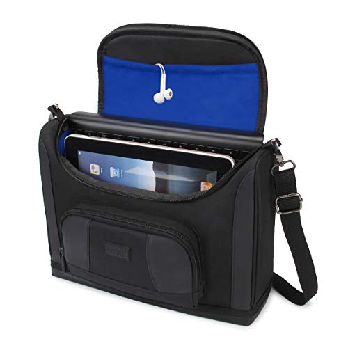 USA GEAR Tablet Bag Compatible with 11 inch iPad Pro and 10.9 inch iPad Air - Compact Messenger Bag with Durable Exterior Shell, Soft Adjustable Interior Fits Smart Keyboard, Pencil, Charger (Blue)