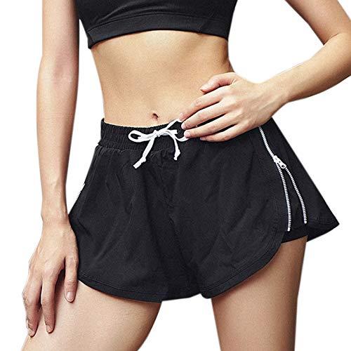 Elonglin Femme Short de Sport Pantalon Femme Taille Haute Pantalon de Fitness Short de Yoga Gym Pilates Short de Bain zippé élastique Stretch Running Plage Casual Noir Taille FR 42 (Asie L)