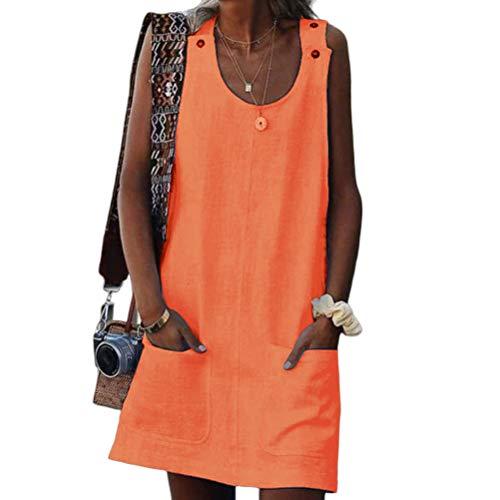 Vestidos Moda Mujer Elegante 2020 Style Clásico Summer Women Pocket Button Strap Dress Vestidos De Verano Chicos (Color : Naranja, Size : L)