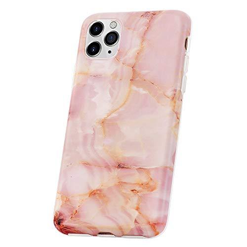 QULT Custodia Compatibile con Сover iPhone 11 PRO Cover Marmo Rosa ottuso Silicone TPU Anti-Scratch Prossoettiva Bumper Flessibile Case Marble Pink