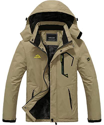 Mens Mountain Snow Rain Waterproof Khaki Ski Jacket with Hood