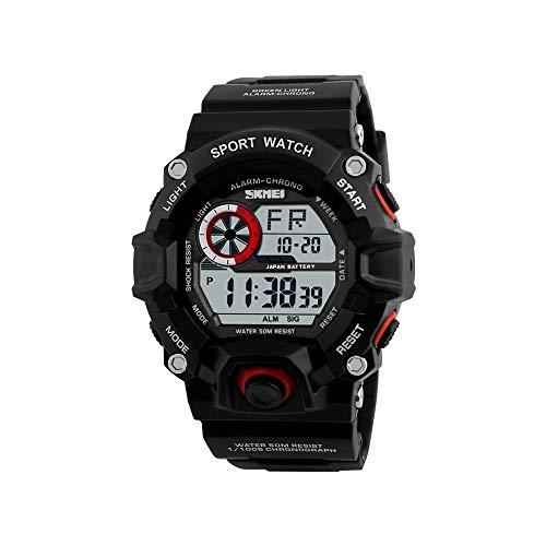 FQDQH De Gama Alta del Reloj Masculino, Deportes al Aire Libre de múltiples Funciones del Reloj, Luminoso Impermeable Reloj de Buceo (Color : Black Red)