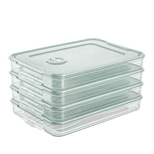 Caja de almacenamiento de alimentos para nevera, bandeja de almacenamiento apilable de una sola capa con tapa de plástico verde paquete de 3