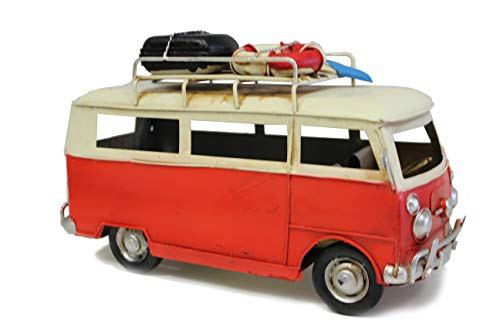 MinaWum Shabby Style Blech Fahrzeug Modelle (Bus rot mit Koffer)