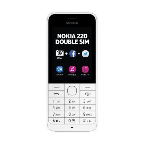 Nokia 220 Téléphone portable débloqué 2.4 pouces Double Sim Blanc