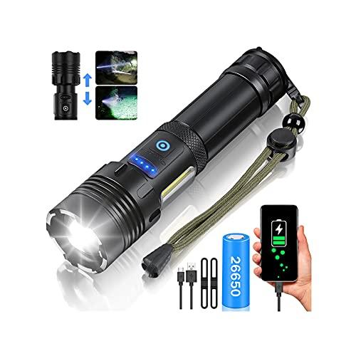 LED Taschenlampe, Extrem Hell 10000 Lumen USB Aufladbar Taschenlampen mit COB Arbeitsleuchte,IPX65 Wasserdicht 7 Modi Zoombar Tragbarer Taktische Taschenlampe für Camping Wandern Notfälle (26650 Akku)