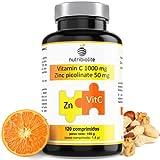 Picolinato de Zinc 50 mg + Vitamina C 1000 mg - 120 comprimidos - 4 meses - Apto para veganos - Hecho en España
