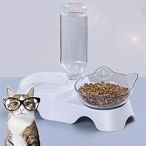 MOLOVET ペット食器 ペットボウル 給餌ボウル フードボウル ウォーターボウル 餌入れ 水入れ 15度傾斜 食べやすい餌台 食器 スタンド 透明 猫 小型犬