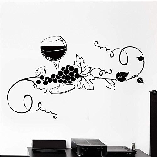 Makeyong Bicchiere Di Vino Vine Grape Vinile Adesivo Home Decor Cucina Bar Art Mural Stickers Murali Removable57X95Cm