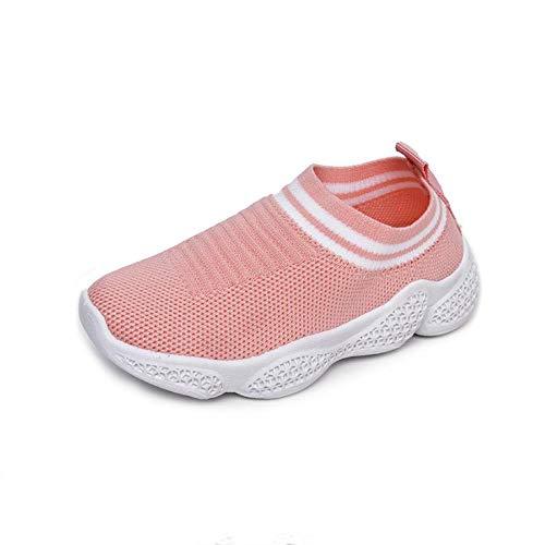 Kinderschoenen Jongens en meisjes Sport Vrije tijd Mesh kinderschoenen Ademende vliegende stof Kinderschoenen Sokken Schoenen voor peuters (25 EU,rosa)