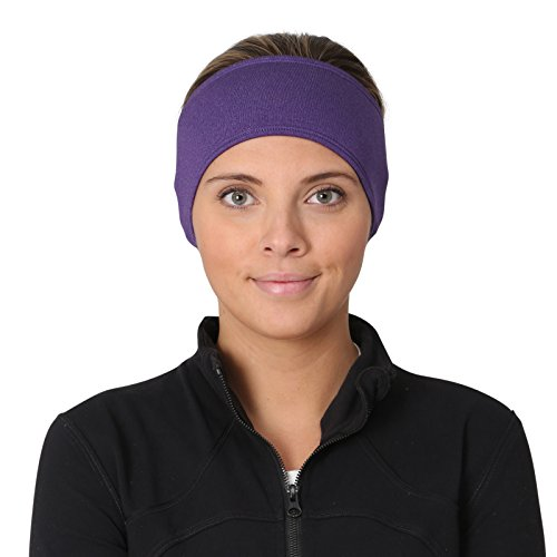 TrailHeads Women's Ponytail Headband | Moisture Wicking Ear Band | The Power Running Headband (heather purple)