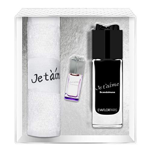 Evaflorparis Je T'Aime Scandaleuse Gift Box Eau de Parfum 100 Ml + Miniature 7.5 Ml + Hand Towel Set Women Spray for Her Women Perfume Evaflorparis 520 g
