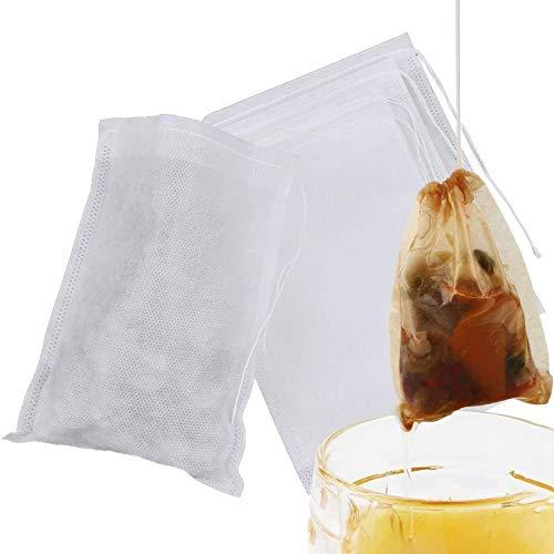 Polarhawk Infusor de té desechable, con cordón ajustable, material seguro y natural, bolsa de infusor de té vacía desechable para café y té de hojas sueltas (15 x 20 cm)