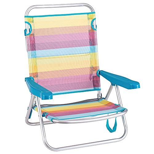 Silla Playa con cojín de 4 Posiciones de Aluminio y textileno de 61x47x80 cm (Rainbow sin cojin)
