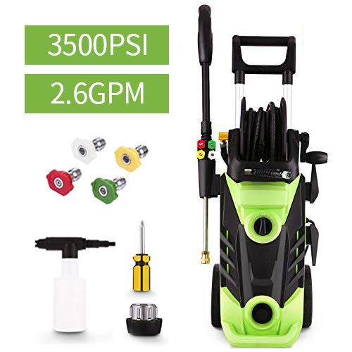 Homdox 3500 PSI Electric Pressure Washer 2.6 GPM Power Washer 1800W Electric Power Washer Cleaner with Hose Reel and 5 Nozzles (Green)