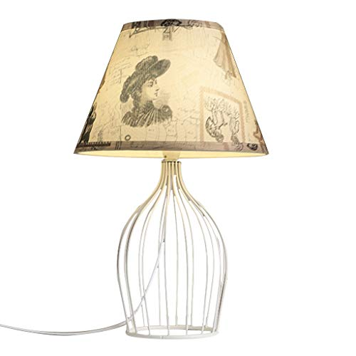 jbshop Desk Lamps Wrought Iron Hollow Bedside Lamp Living Room Bedroom Table Lamp Hand-painted Fabric Garden Style Table Lamp Bedside Table Lamp (Color : C)
