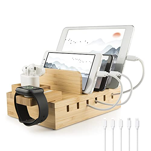 Ladestation Mehrere Geräte Bambus YOJA 5 Port USB Multi Ladestation Holz für Handy Tablet Uhr Kopfhörer Watch pods USB Ladegerät mit 5 Kurze Kabel, Bamboo Desgin