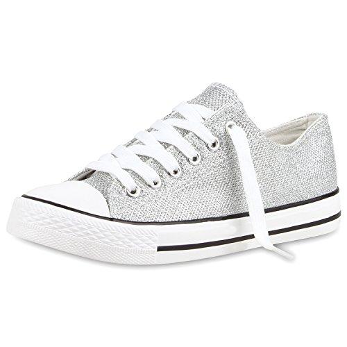 SCARPE VITA Damen Sneakers Low Glitzer Schuhe Freizeit Turnschuhe Bequem 160459 Silber Glitzer 37