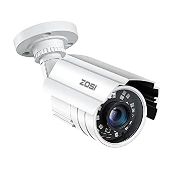 ZOSI 2MP HD 1920TVL Outdoor Indoor Security Camera 1080p  Hybrid 4-in-1 HD-CVI/TVI/AHD/960H Analog CVBS  24PCS LEDs 80ft IR Night Vision Weatherproof Surveillance CCTV Bullet Camera