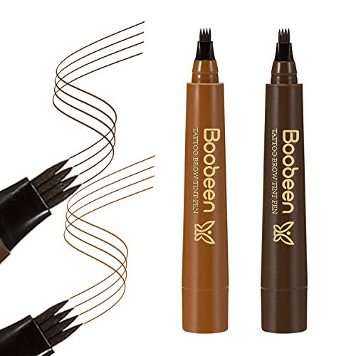 Boobeen 2Pcs Waterproof Eyebrow Pencil - Microblading Eyebrow Tattoo Pen with a Micro-Fork Tip Applicator - Creates Natural Looking Brows Effortlessly