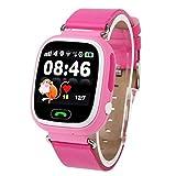 FUNSHINNY gsm GPRS GPS Localizador Anti-perdido Smart Watch Rastreador de Fitness para iOS/Android, Cuero o Banda de plástico Entrega aleatoria (Rosa) (Color : Pink)