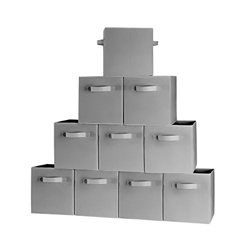 10-Pack Grey Storage Bins Containers Boxes Tote Baskets Collapsible Storage Cubes For Household Organization  Fresh Fabric Cardboard
