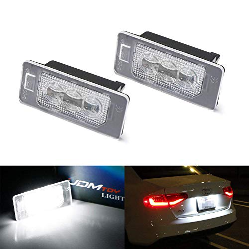 iJDMTOY OEM-Fit 3W Full LED License Plate Light Kit Compatible With Audi A3 A4 A5 A6 A7 Q3 Q5 Q7 TT Cayenne Panamera, Powered by 3-piece Osram Xenon White LED & Can-bus Error Free
